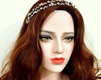 LAUREL Bridal Tiara, Twig Hair Jewelry, Vines Bridal Crown, Bridal Halo, Pearl Bridal Hair Vines, Crystal Wedding Headpiece, Bridal Headband