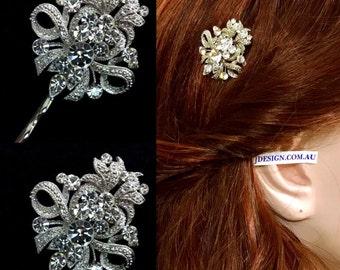 Bridesmaid Hair Pin Set of 3, Crystal Bridal Hair Jewelry, Bridal Hair Pin, Wedding Headpiece, Fleur De Lis Pin, Bridesmaids Gifts, ROYCE