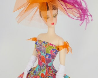 Vintage or Silkstone Barbie Outfit Fashion Dress Hat Gloves - 'Angel'