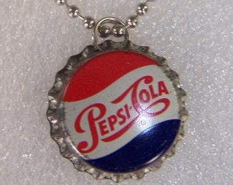 Vintage PEPSI COLA Soda Pop Bottle Cap NECKLACE Caps Tops Crowns