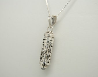Moonstone Cremation Jewelry Sterling Silver Cremation Urn Necklace Memorial Keepsake Pendant Silver Urn Cylinder Urns for Person or Pet