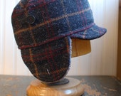 Woodsman XL: winter warm earflap hat in charcoal, maroon, and yellow plaid wool fabric