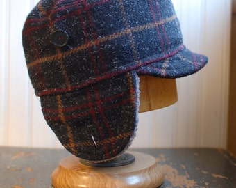 Woodsman XL:  Earflap hat in charcoal, gray plaid ear flap hat, wool hat, winter hat, cadet with ear flaps, mens flaphat, womens winter hat