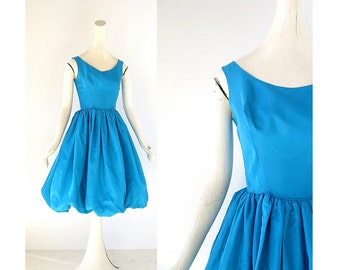 1950s Party Dress | Bubble Dress | 50s Taffeta Dress | XXS