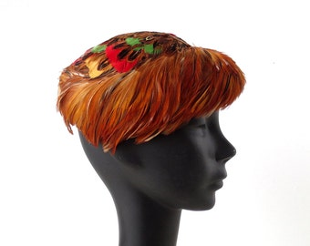 Pheasant Feather Hat / Vintage 1950s Hat / 50s Hat