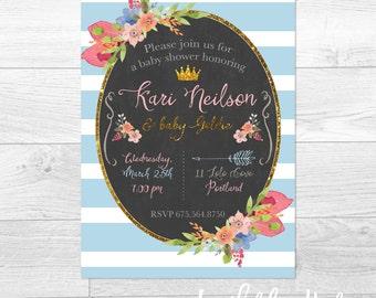Floral And Stripes - Custom Baby Shower Invitation, Bridal Shower Invitation