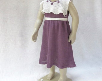 OOAK Knit Linen(Flax) Dress for Toddler Girl - 2T-3T Readyto ship
