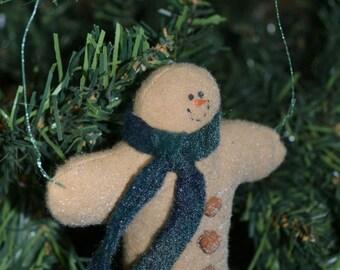 Handmade Christmas Ornament, Snowman with GREEN FLEECE Scarf, Fleece Snowman with 3 heart-shaped buttons