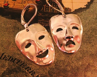 Comedy and Tragedy Earrings Silver drama theater earrings theater jewelry theatre earrings mask theater masks broadway drama earrings acting