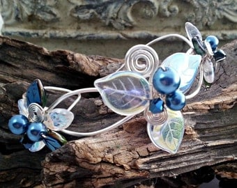 Woodland Triquetra Bracelet Blue Fairy Wrist Corsage Arm Band Bridal Body Jewelry