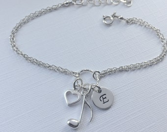 Personalized Music Note Bracelet in Sterling Silver - Adjustable Personalized Music Note Bracelet