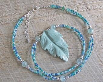 Green Jasper Leaf Aquamarine Emerald Topaz Healing Gemstone Statement Necklace