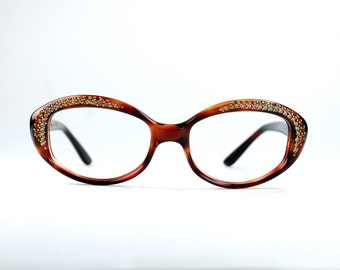 Rhinestone Cat Eye Eyeglasses Frames Tortoise Frame France NOS Luxury Designer 51/19