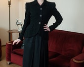 Vintage 1940s Jacket - Sophisticated Black Gabardine 40s Suit Jacket with Strong Shoulders and Long Ruffled Rear Peplum