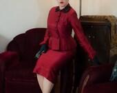 Vintage 1940s Suit - Tailored Deep Lipstick Red Postwar 40s Skirt Suit with Black Soutache and Jet Studs