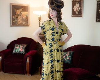 Vintage 1940s Dress - Striking Navy Blue and Yellow Carousel Novelty Print 40s Day Dress with Huge Collar, Buttons and Pleated Hip Drape