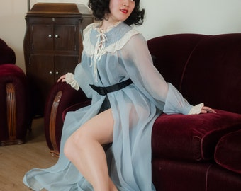 Vintage 1950s Peignoir - Bewitching Sheer Blue Nylon Seersucker 50s Robe with Huge Sleeves and White Satin and Lace Trims