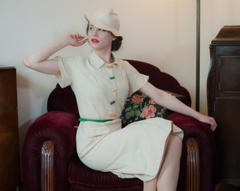 Vintage 1930s Dress - Iconic Ivory Gabardine Deco 30s Day Dress with Bright Celluloid Buttons and Large Pockets