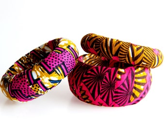 Pink and brown African fabric covered wood bracelets