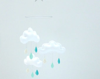 "Rain Cloud Mobile for Nursery ""DAVID"" Spring shower-Cream Ivory-Mint-Turquoise by The Butter Flying-Rain Cloud Mobile Nursery Decor"