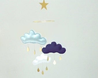 "Bestseller :Mobile ""DENIS"" Light blue,NAVY,White cloud mobile for nursery with gold star by The Butter Flying-Rain Cloud Mobile Nursery"