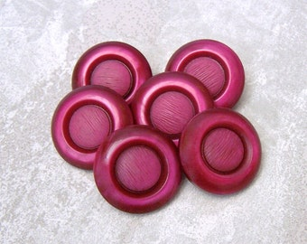 Vintage Coat Buttons - CHOOSE 27mm or 34mm - Chunky Magenta Sapphire Red Plastic Buttons - 6 VTG NOS Beet Red Retro Mod Shank Buttons PL502