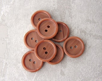 Milk Chocolate Buttons, 15mm 5/8 inch - Brown Striped Sewing Buttons - 8 VTG NOS Streaked Brown Plastic Sew Through Buttons PL002 bb