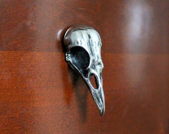 Designer Silver Bird Skull Cabinet Knob Drawer Pull Hardware  Mirror Polished Crow Raven 2075