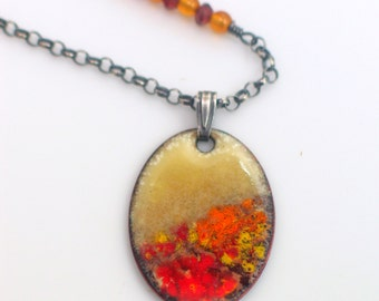 Autumn Celebration Impressionist Landscape Necklace, Warm Bright Colors, Original Enameled Art Pendant, Amber and Tundra Sapphire Accents