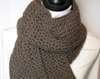 Brown Scarf, Taupe Scarf, Gift for Her, Winter Scarf, Fall Scarf, Crochet Scarf, Crochet Scarves, Brown Crochet Scarf, Taupe Crochet
