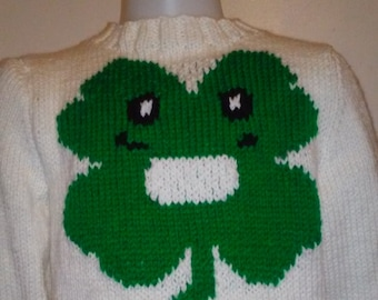 Hand knit St. Patricks Day Hand Knitted Child Sweater, Size 4T smiling face clover 4-leaf cream and kelly green