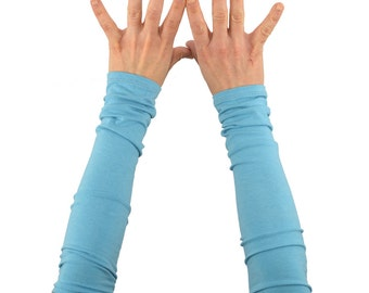Arm Warmers in Sky Blue - Long Cuffs - Fingerless Gloves - Sleeves - LAST PAIR