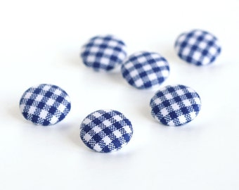 Fabric Buttons, Blue and White Gingham, 6 Small Country Cottage Fabric Covered Buttons, Handmade Fabric Button, Sewing, Clothing, Knitting