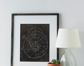 Engineering Geometric Art Print, scientific drawing, geometric art, vintage engineering drawing, engineer gift, gifts for him, circle art