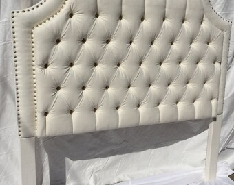 QUEEN White Tufted Upholstered Headboard with Nickel Nailheads Tufted Headboard Upholstered Queen Size Headboard Off White Linen Headboard