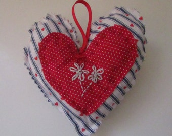 Country Heart with hand embroidery Ornament,  Valentines door hanger, decorative accent