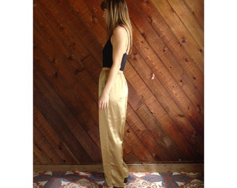 Gold Satin High Waist Trousers Pants - Vintage 90s - S/M