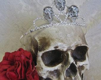 Hell's Belle: Skull Crown Tiara Chrome 3D Bolted Silver Skulls on Rhinestone Tiara Assemblage Goth Wedding Edgy Rocker Bride Birthday Crown