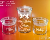 Personalized Wedding Sand Ceremony Set, Airtight Glass Jars, Vinyl Application, 5 Designs, 3 colors available