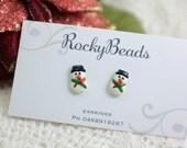 Polymer Clay Snowman Stud Earrings