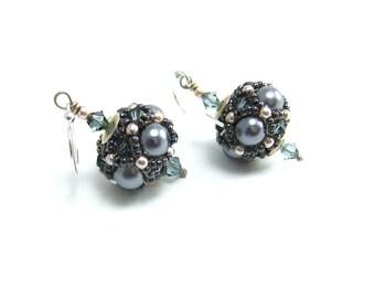 Silver Grey Swarovski Pearl Beaded Ball Earrings Handmade, Erinite bicones, Sterling Silver Ear Hooks, Beaded Sphere, Beaded Bead