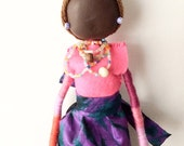 """African Wall Doll """"Katerine"""", African Art Doll, African Doll, Multicultural Doll, Mixed Media Art Doll"""