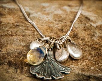 Gingko Necklace, Gingko Pendant, Ginkgo Leaf Necklace, Ginkgo Necklace, Ginkgo and Silver Drop Charm Necklace