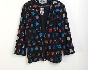 Vintage 80s EASTWEST Black/multicolor Patchwork Blazer Size M