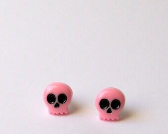 Pink Skull Earrings, Ghost Earrings, Ghost Earrings, Pink Studs, Hypoallergenic Studs, Kawaii Earrings, Small Earrings, Cute Pink Studs