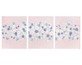 Baby Girl Wall Art - Pink and Purple Nursery Painting of Roses - 3D Flower Canvas Art Triptych - Large 50x20