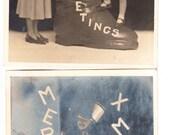 7 Vintage Photo Lot Christmas Girl Boy ChildCostume Stocking Family estate Photos 1950s