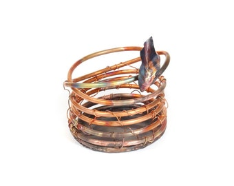 Plant Holder Orchid Pot Handmade Coil Style Copper Metal Art Unique Design Full Drainage Orchid Lover Gift Idea Leaf Detail - READY TO SHIP