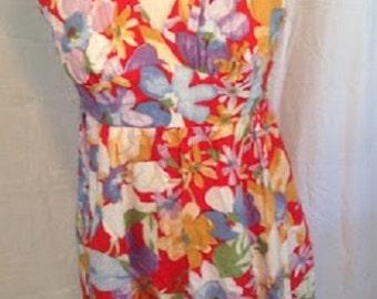 Vintage Lanz Originals Tropical Floral Sundress Red Flower Vintage Dress Summer Dress 1980s 80s Sz S