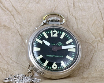 Vintage Westclox Pocket Watch  -  Super Glow Model - Circa 1970's - With Pocket Watch Chain - Black Dial Pocket Watch - Retro Pocket Watches